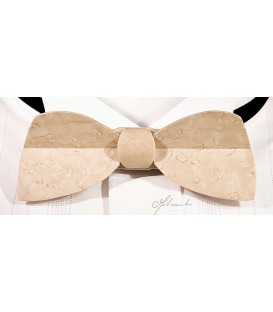 Bow tie in wood, Half-moon in pearly Maple - MELISSAMBRE