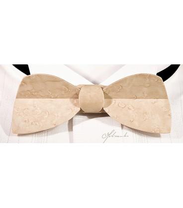 Nœud papillon bois, modèle Demi-lune en Erable perlé - MELISSAMBRE