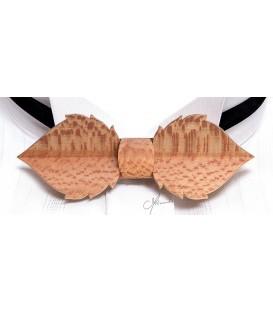 Nœud papillon en bois - Feuille en Platane maillé