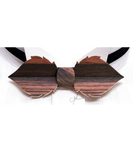 Bow tie in wood, Leaf in Macassar Ebony - MELISSAMBRE