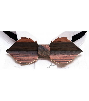 Bow Tie in Wood - Leaf in Macassar Ebony - MELISSAMBRE