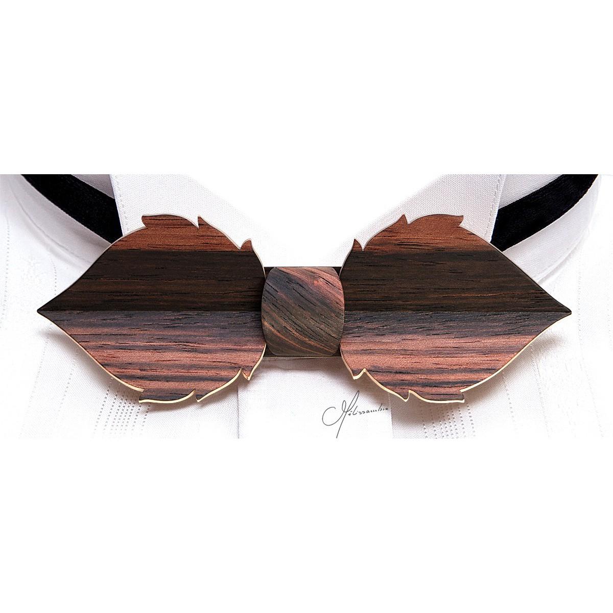 N u0153ud papillon en bois Feuille en Eb u00e8ne de Macassar MELISSAMBRE Noeuds papillon en bois  # Noeuds Papillon En Bois