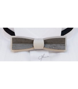 Bow tie in wood, Stretto in white & grey tinted Maple - MELISSAMBRE
