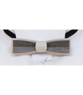 Noeud papillon bois, Stretto en Erable teinté blanc & gris - MELISSAMBRE