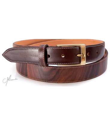 Belt in Wood & leather - Rosewood - MELISSAMBRE