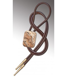 Bolo tie in landscape Jasper, brown leather - MELISSAMBRE