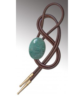Bolo tie in green Jasper / Brown leather cord - MELISSAMBRE