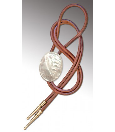 Bolo Tie in Mother of Pearl, natural leather - MELISSAMBRE