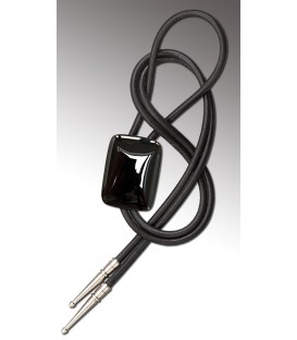 Bolo tie in rectangular black Agate, black leather - MELISSAMBRE