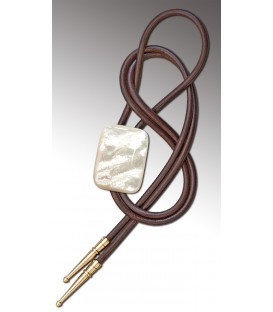 Bolo tie in Mother of Pearl, brown leather - MELISSAMBRE