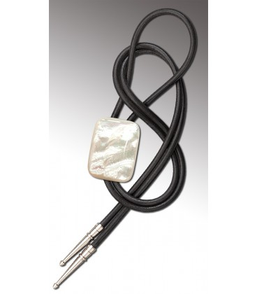 Bolo tie in Mother of Pearl, black leather - MELISSAMBRE