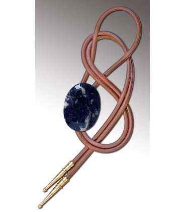 Bolo tie in Sodalite / Natural leather cord - MELISSAMBRE