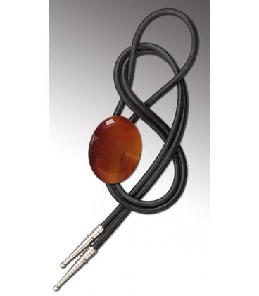 Bolo tie in Cornaline, black leather - MELISSAMBRE