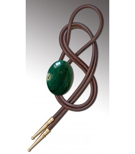 Bolo tie in Malachite, brown leather - MELISSAMBRE