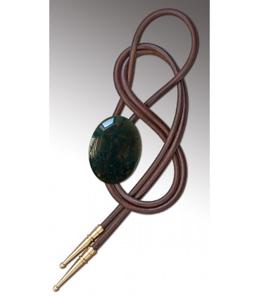 Bolo tie in blood Agate / Brown leather cord - MELISSAMBRE
