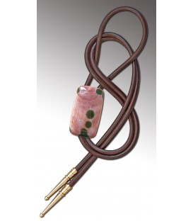 Bolo tie in pink circular Agate