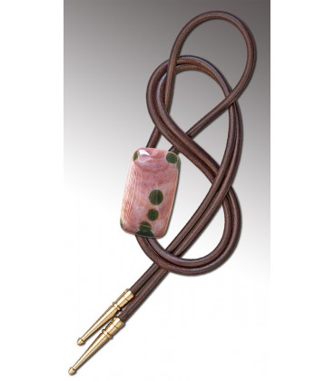 Bolo tie in pink circular Agate / Brown leather cord - MELISSAMBRE
