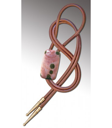 Bolo tie in pink circular Agate / Natural leather cord - MELISSAMBRE