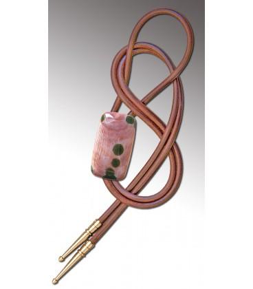 Noeud Texan en Agate circulaire rose / Cordon en cuir naturel - MELISSAMBRE