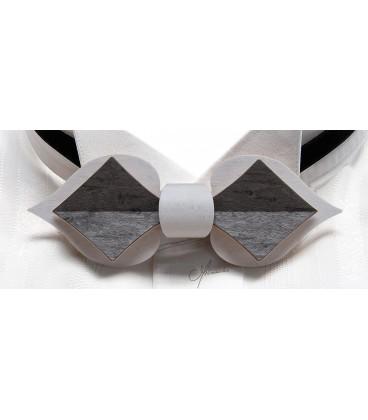 Noeud papillon en bois, Carte en Erable perlé teinté blanc & gris