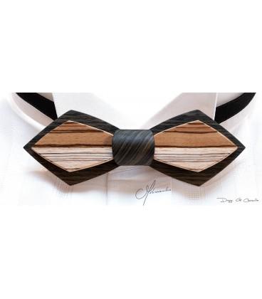 Noeud papillon en bois - Modèle Plume en Chêne des marais et Zébrano - MELISSAMBRE
