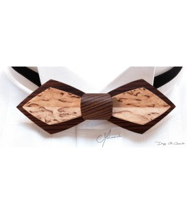 Bow tie in wood, Nib in smokek Larch & mottled Birch - MELISSAMBRE
