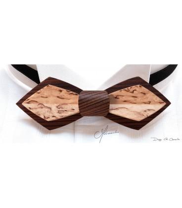 Bow tie in wood, Nib in smokek Larch & mottled Birch - MELISSAMBRE