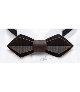Bow tie in wood, Nib in smoked watered Eucalyptus - MELISSAMBRE