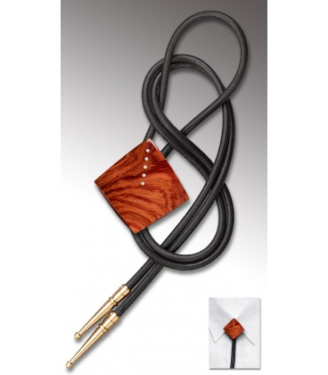 Bolo tie in Bubinga wood / Black leather cord - MELISSAMBRE