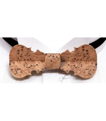Bow tie in wood, Violin in Yew tree burl - MELISSAMBRE