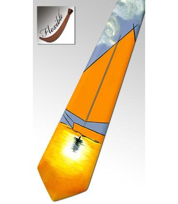 Yacht orange wooden tie