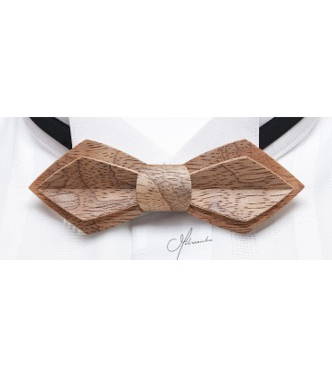 Bow Tie in Wood - Nib Model in Silvery Bubinga - MELISSAMBRE