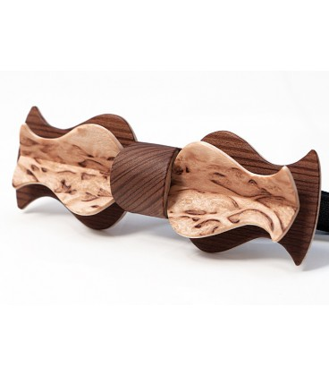 Bow tie in wood, Retro in smoked Larch & mottled Birch - MELISSAMBRE