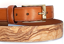 Belt in wood & leather - Ash-olive tree burl - MELISSAMBRE