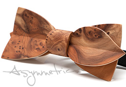 Bow Tie in Wood, Asymmetric in Yew Tree Burl, MELISSAMBRE®